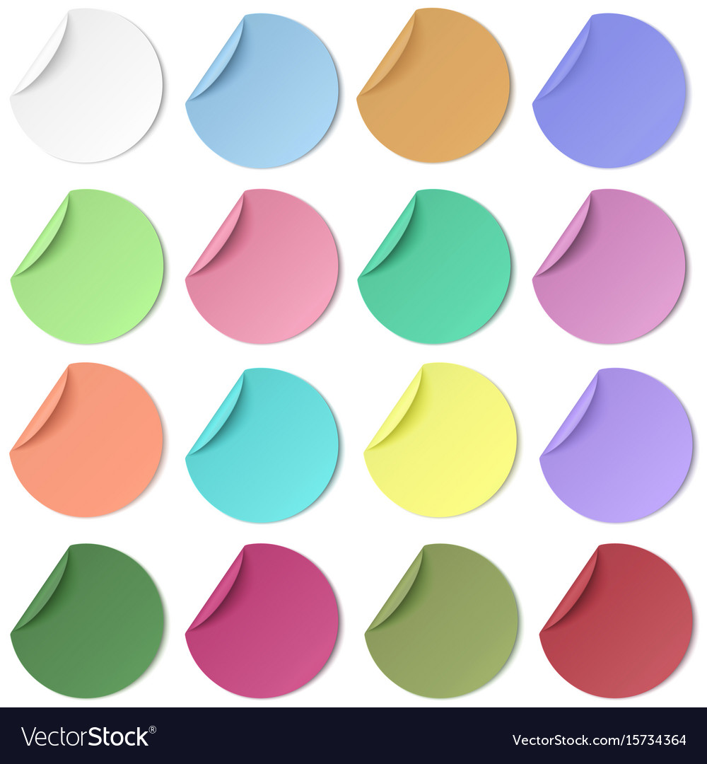 Set of pastel color round paper sticker with edge vector image