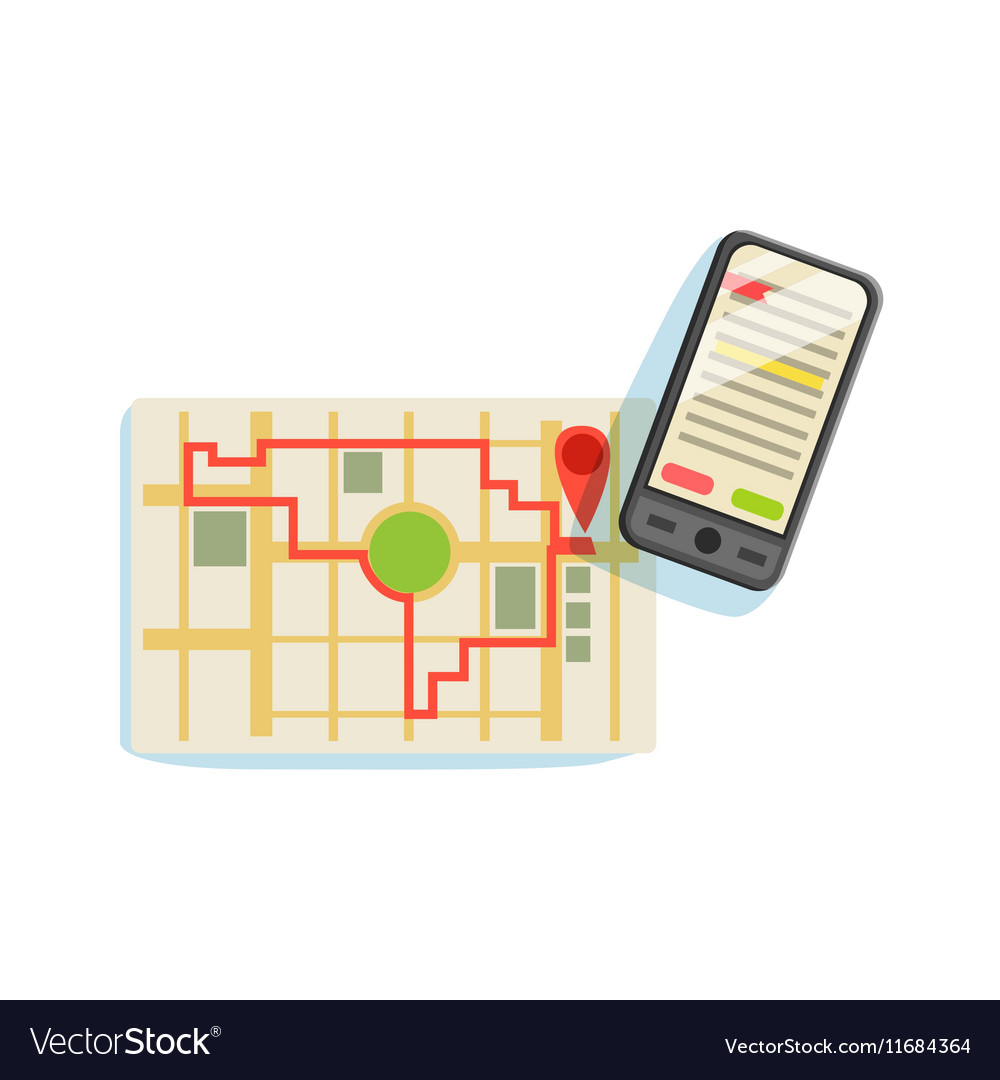 smartphon and app to plan the running route on the