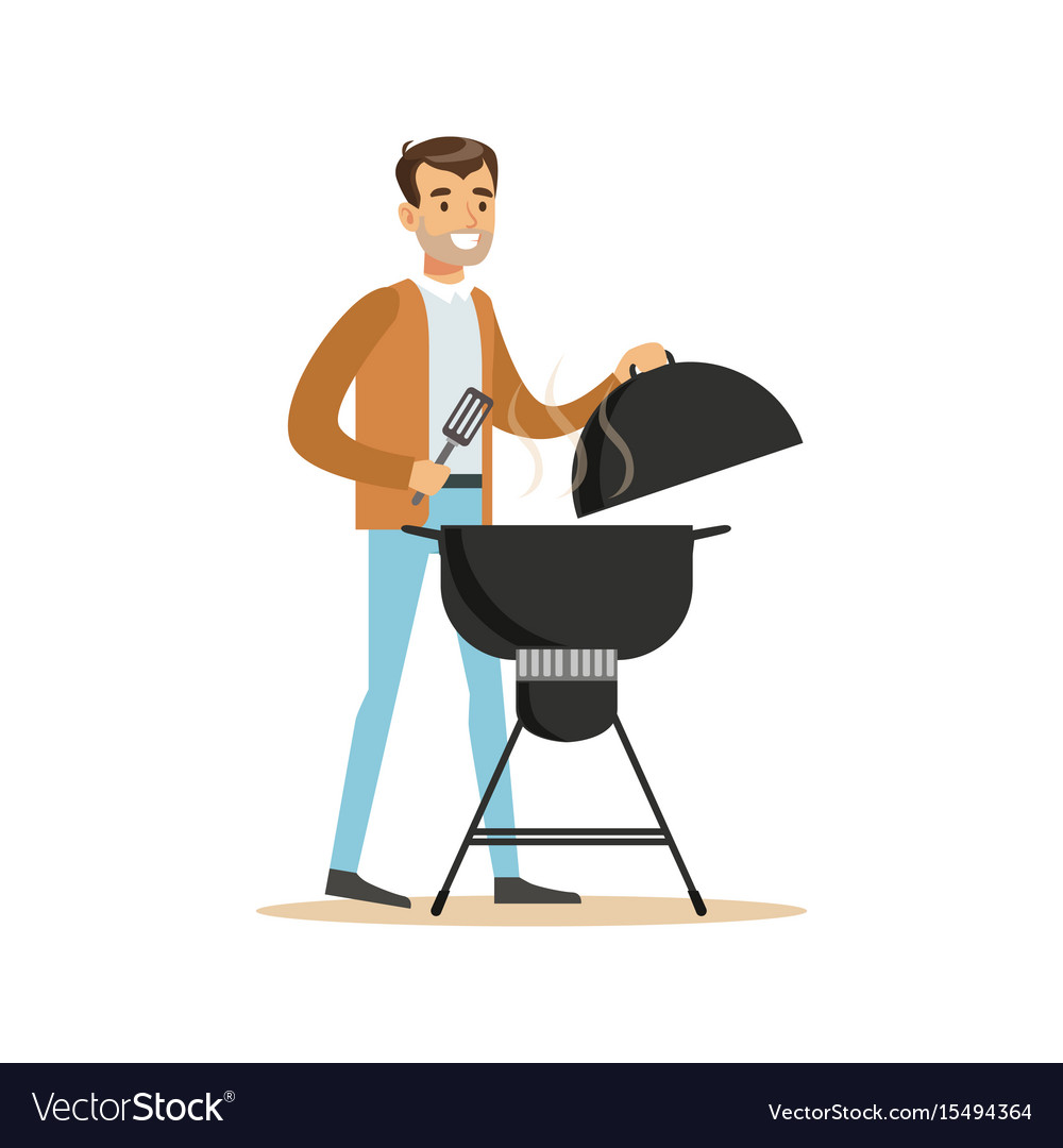 Smiling man preparing barbecue on a grill vector image