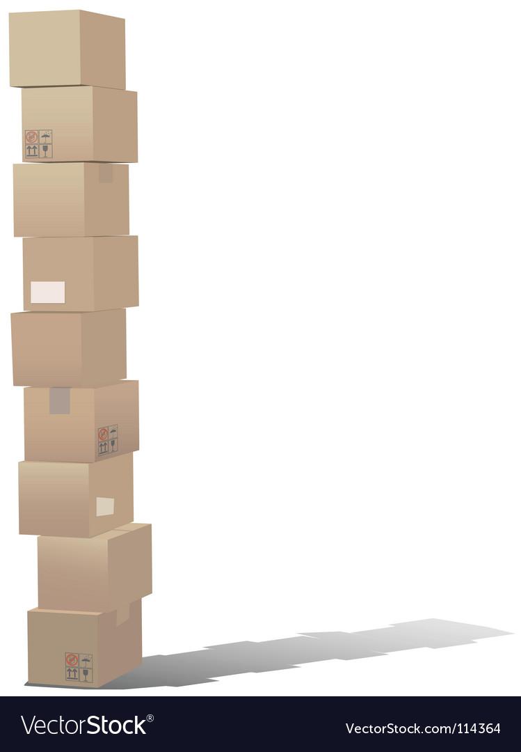 Stack of shipping carton boxes vector image