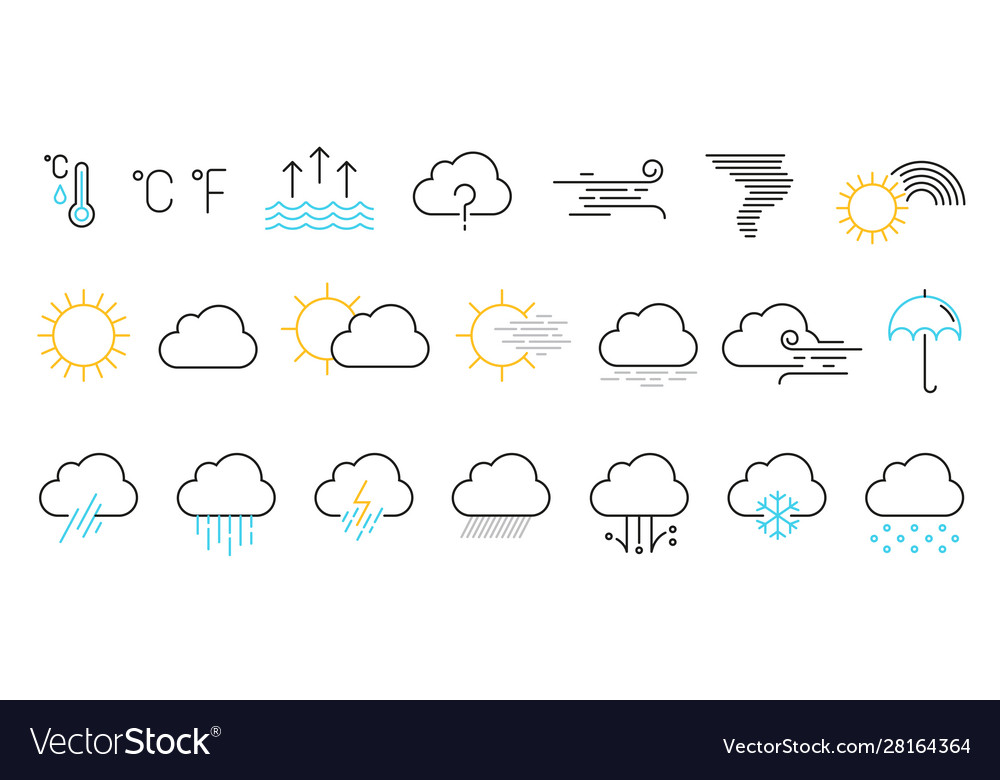 Weather icons set isolated on a white background