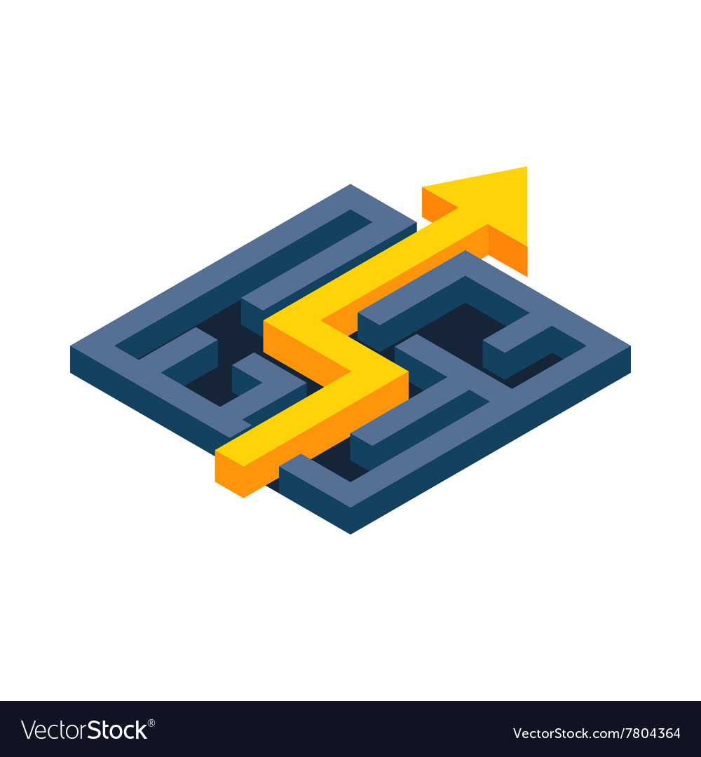 Yellow path with arrow across labyrinth icon
