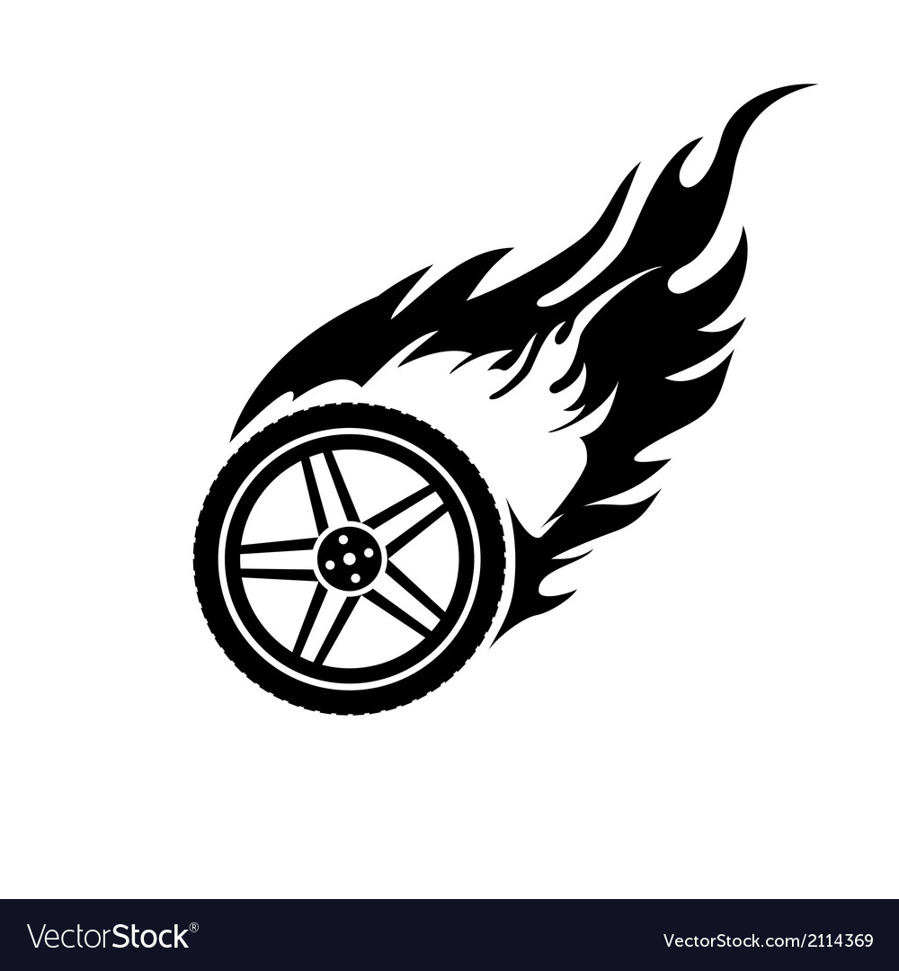 Black and white burning car wheel