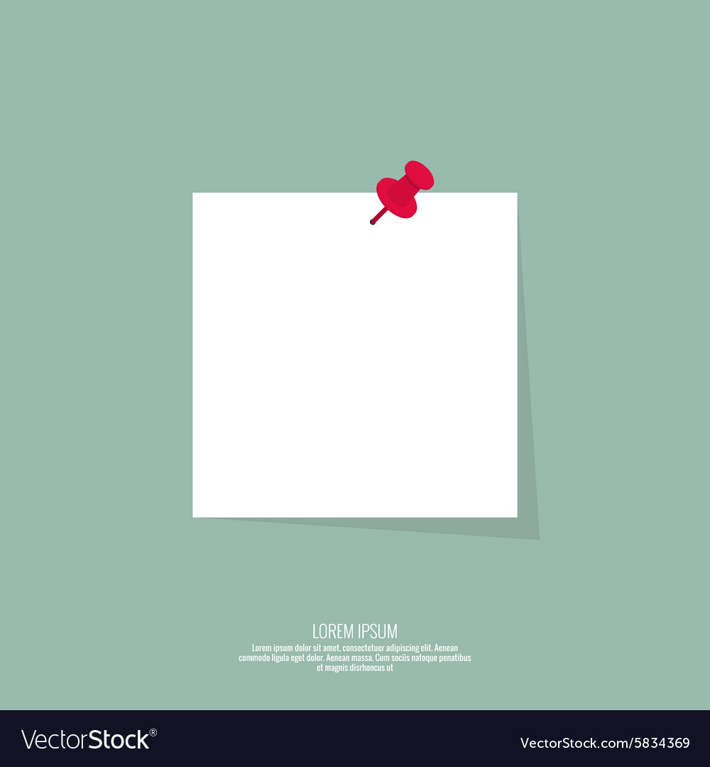 Blank paper note with push pin vector image