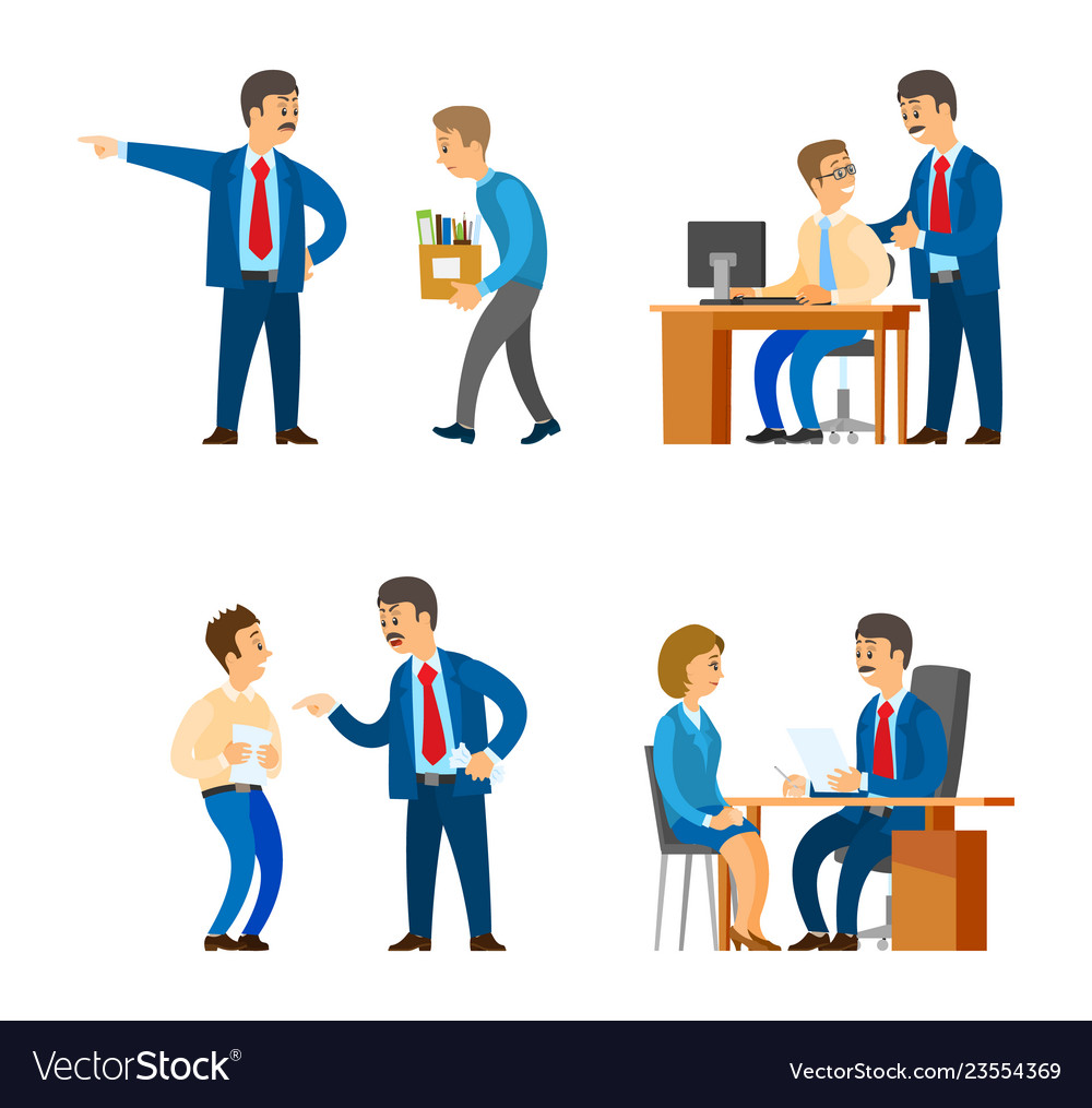 Boss professional director interacting workers
