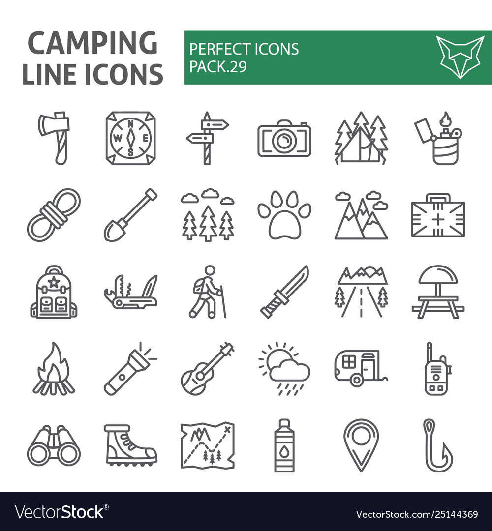 Camping line icon set hiking symbols collection
