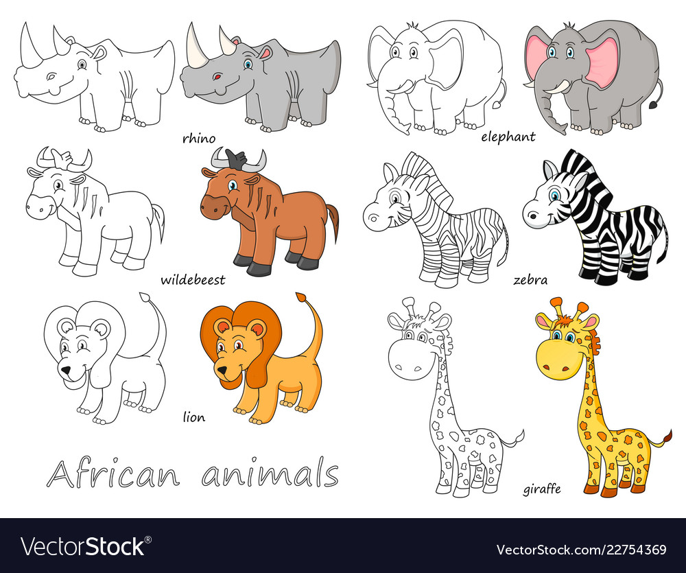 Cartoon african animals outline and colored