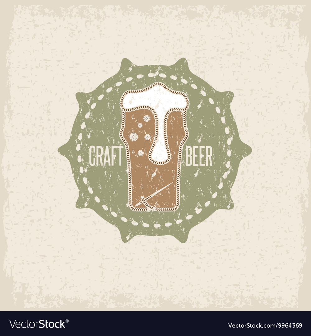 Craft beer concept grunge label with needle and