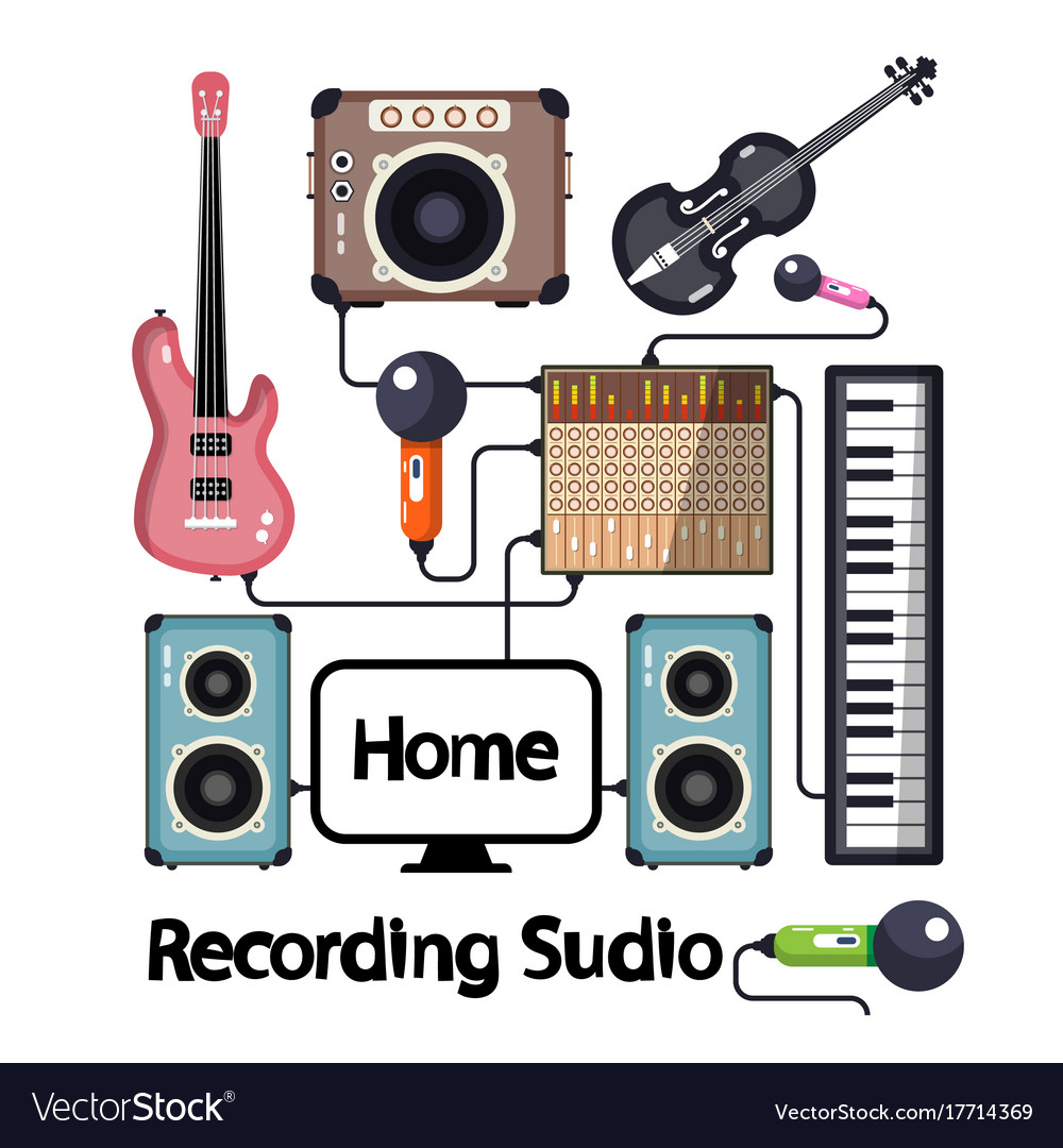 Home recording studio with musical instruments