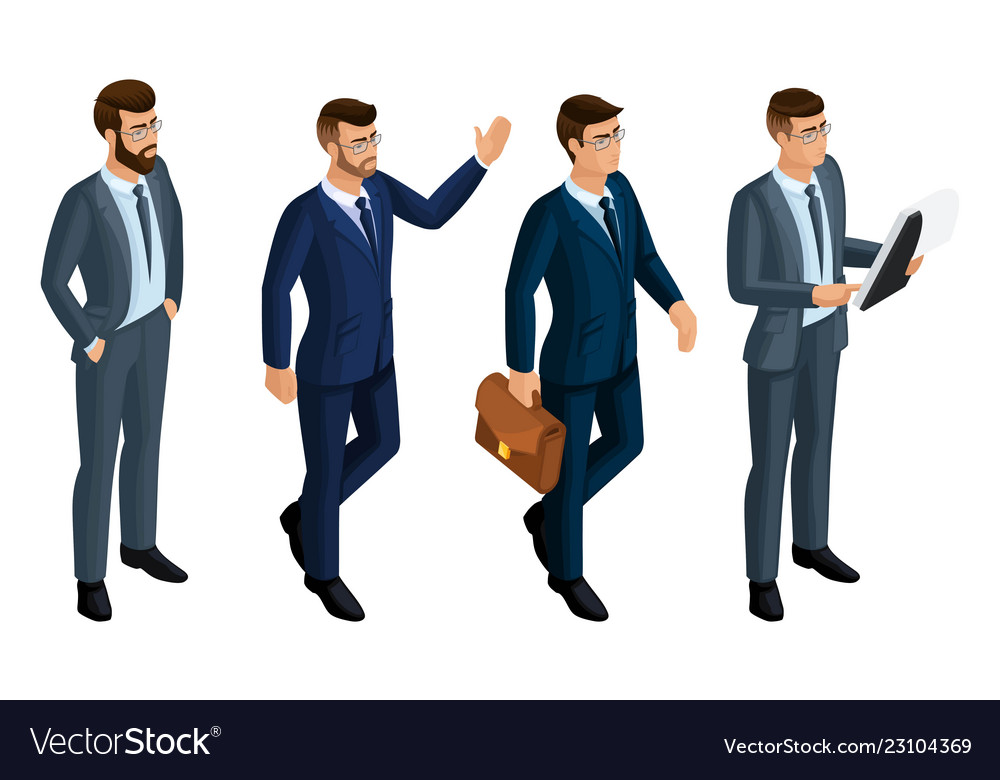 Isometry icons emotions of men 3d business men