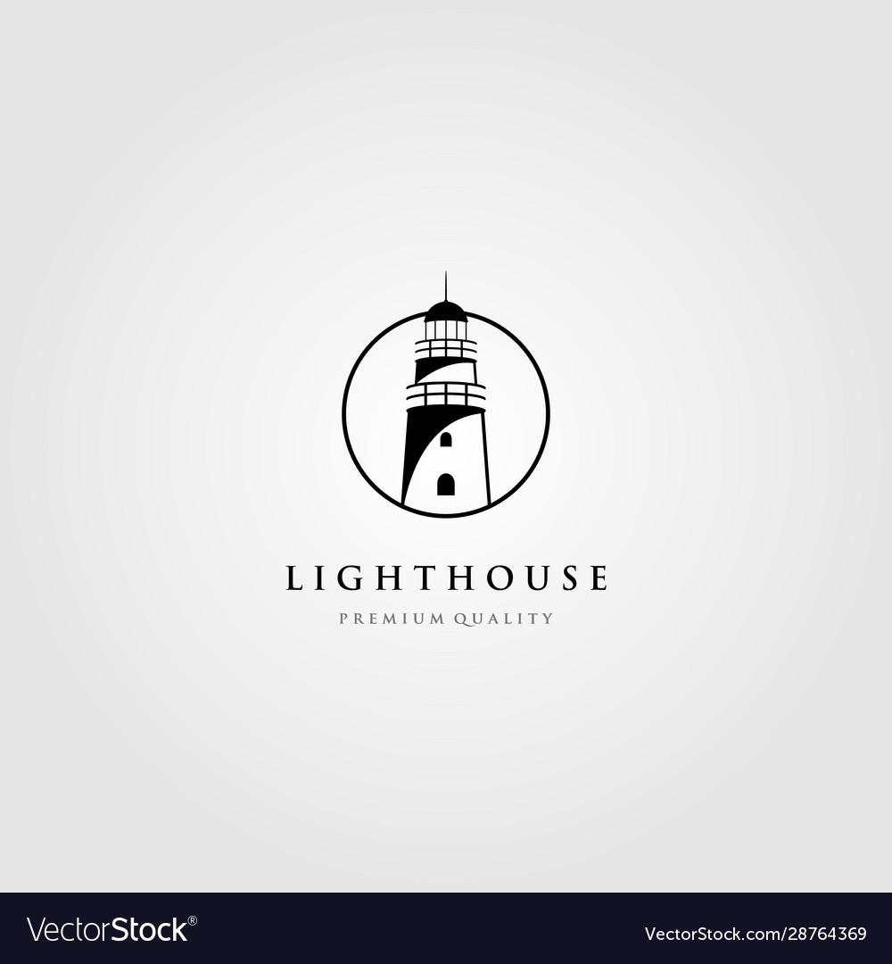 Line art lighthouse logo tower in circle frame