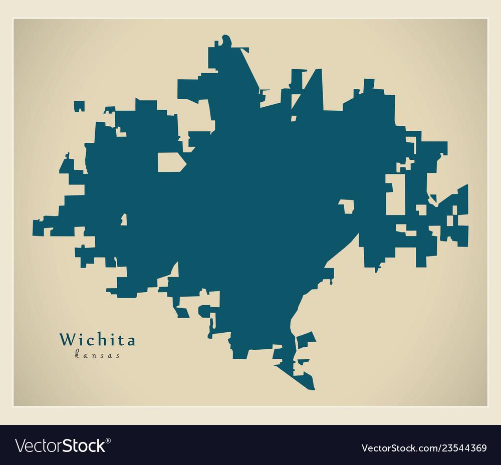 Modern map - wichita kansas city of the usa