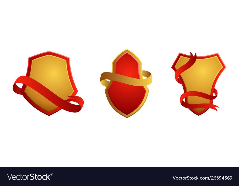 Set vintage badges shields with ribbons sale
