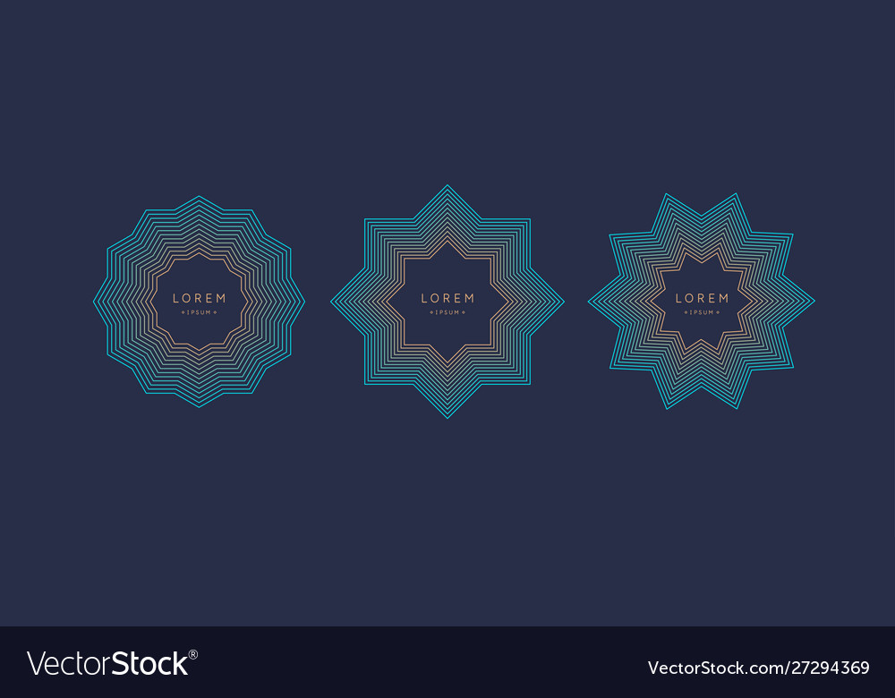 Stylish geometric emblem and template for text