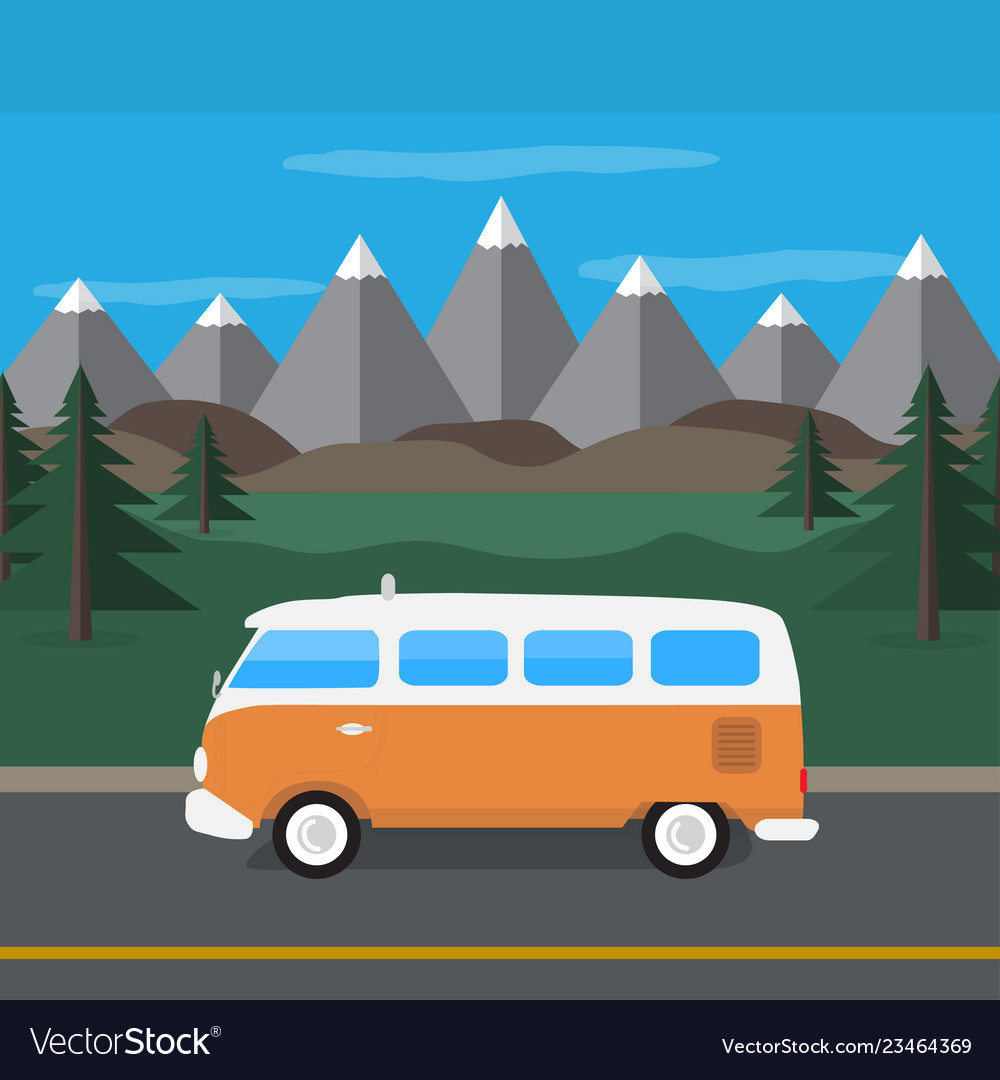 Travel van in the mountains flat style