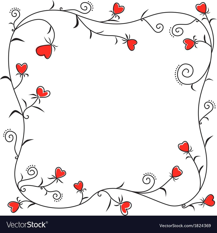 Valentine heart border vector image