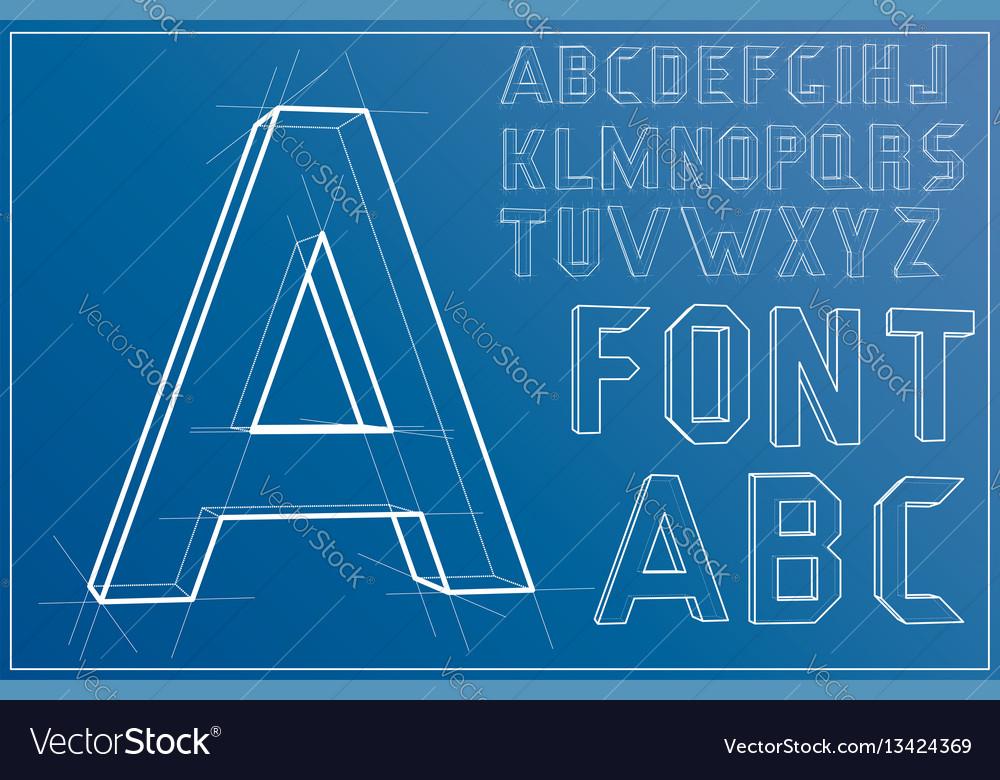 Wireframe alphabet font