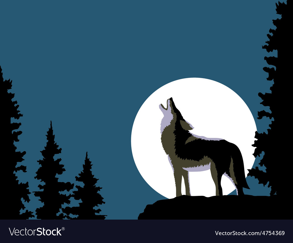 Box Stock Project >> Wolf howling at the moon Royalty Free Vector Image