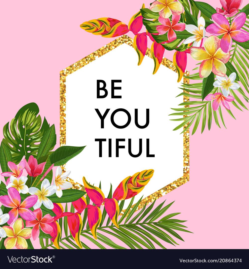 Blooming summer floral frame poster sale banner vector image