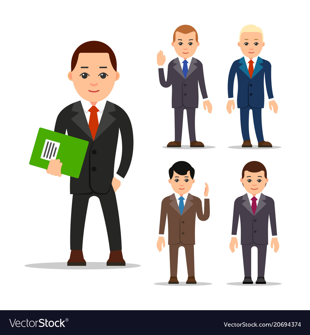 Business man set of manager character in various