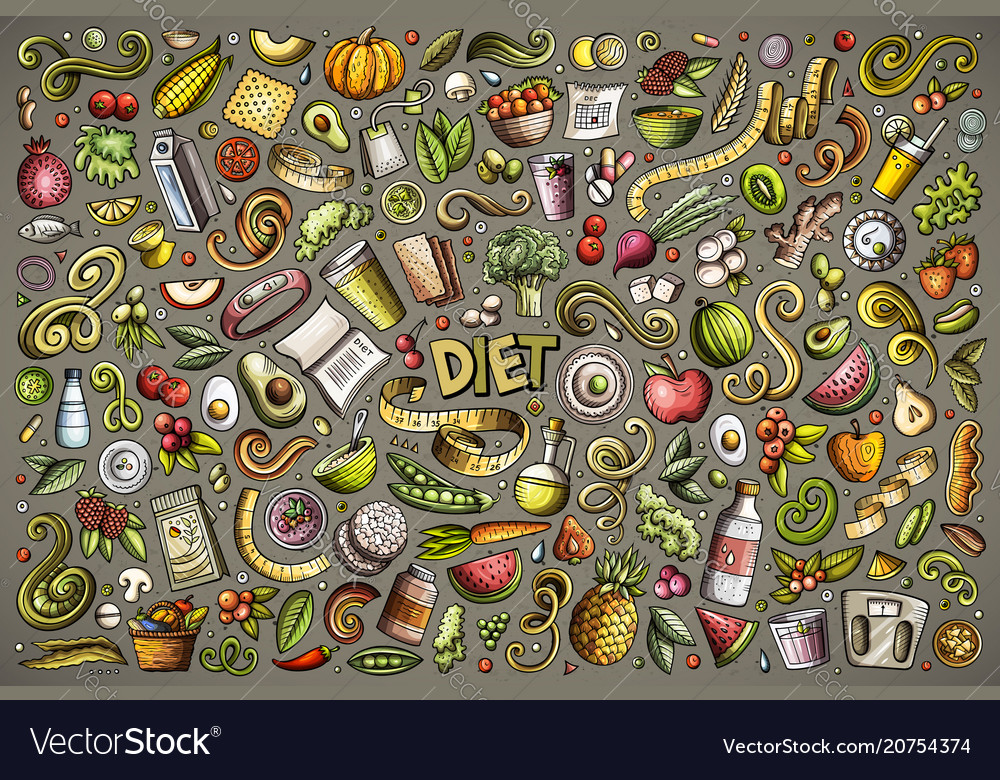 Doodles cartoon set diet food objects