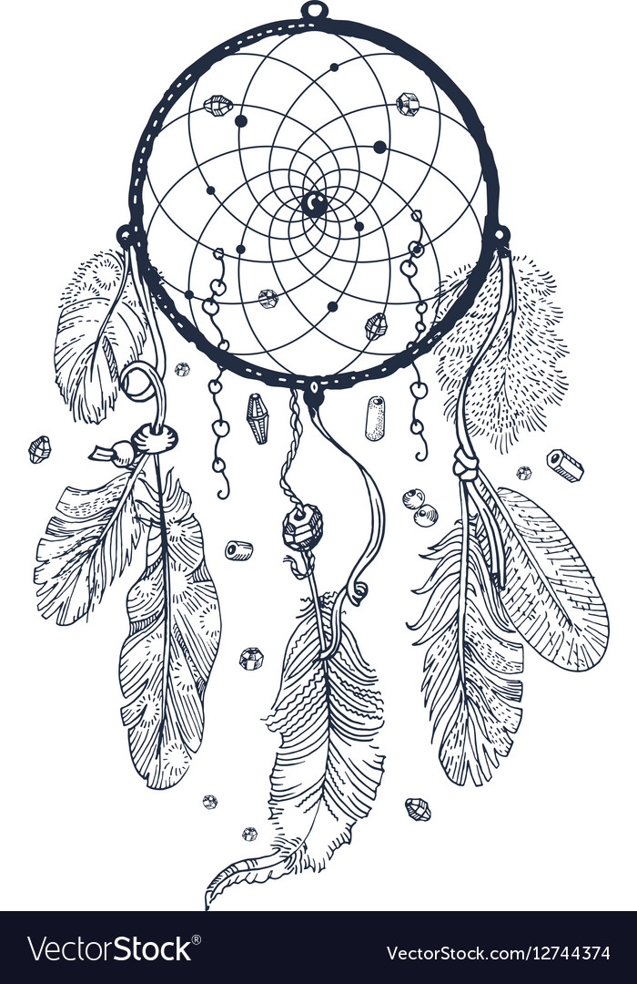 drawing of dreamcatcher royalty free vector image rh vectorstock com dream catcher vector eps dreamcatcher victor idaho eclipse