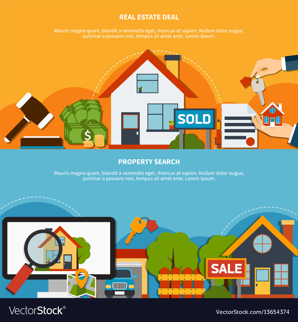 Real Estate Banners Royalty Free Vector Image Vectorstock
