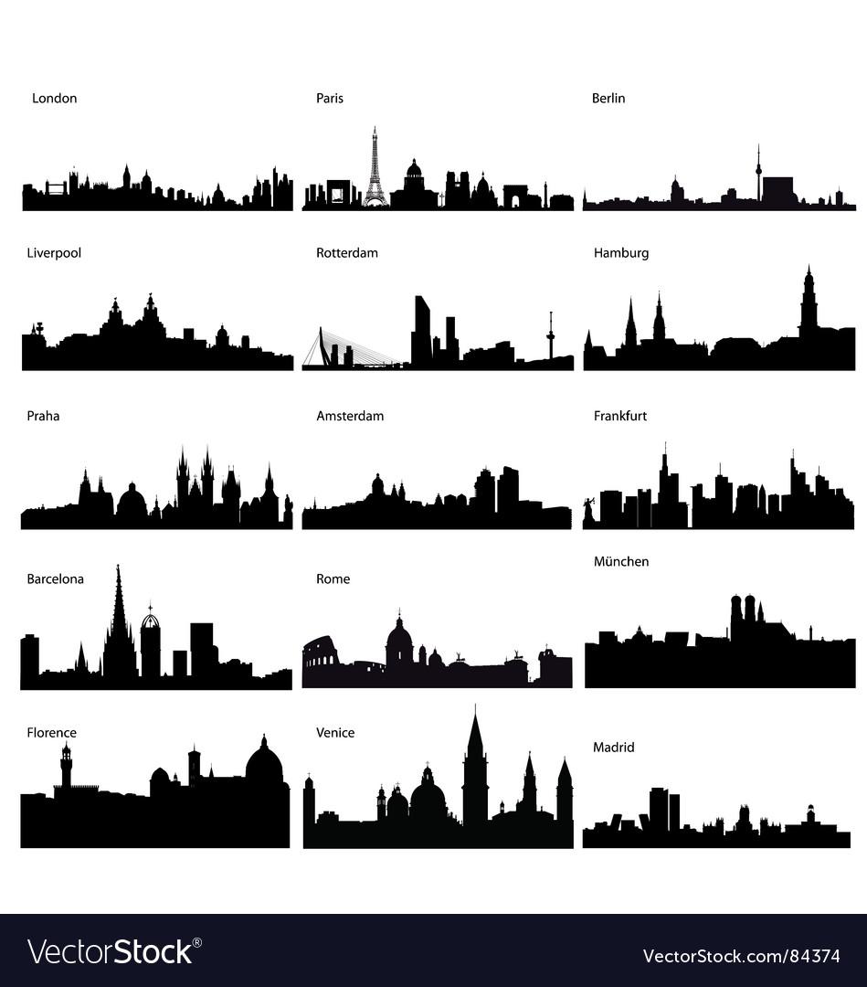 Silhouettes european cities