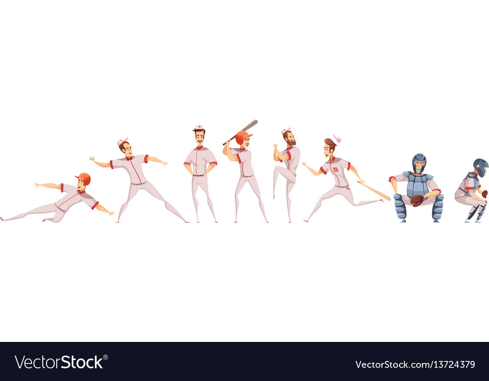 Baseball players colored icons set