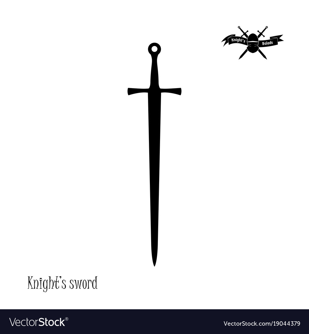 black silhouette of knights sword royalty free vector image rh vectorstock com sword vector file sword vector logo