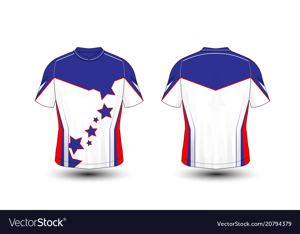 ce8b82ed Blue white and red layout sport t-shirt kits Vector Image