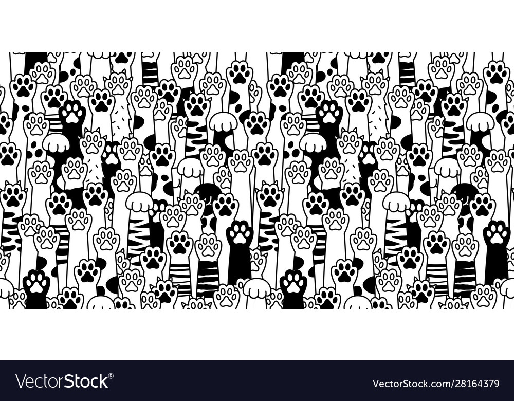 Cat paw seamless pattern cat breed isolated