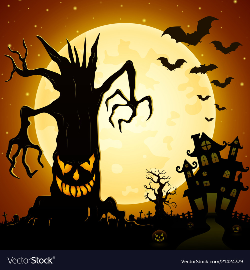 Halloween background scary monsters trees on ceme