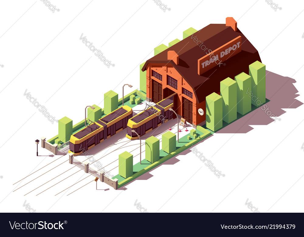 Isometric tram depot building