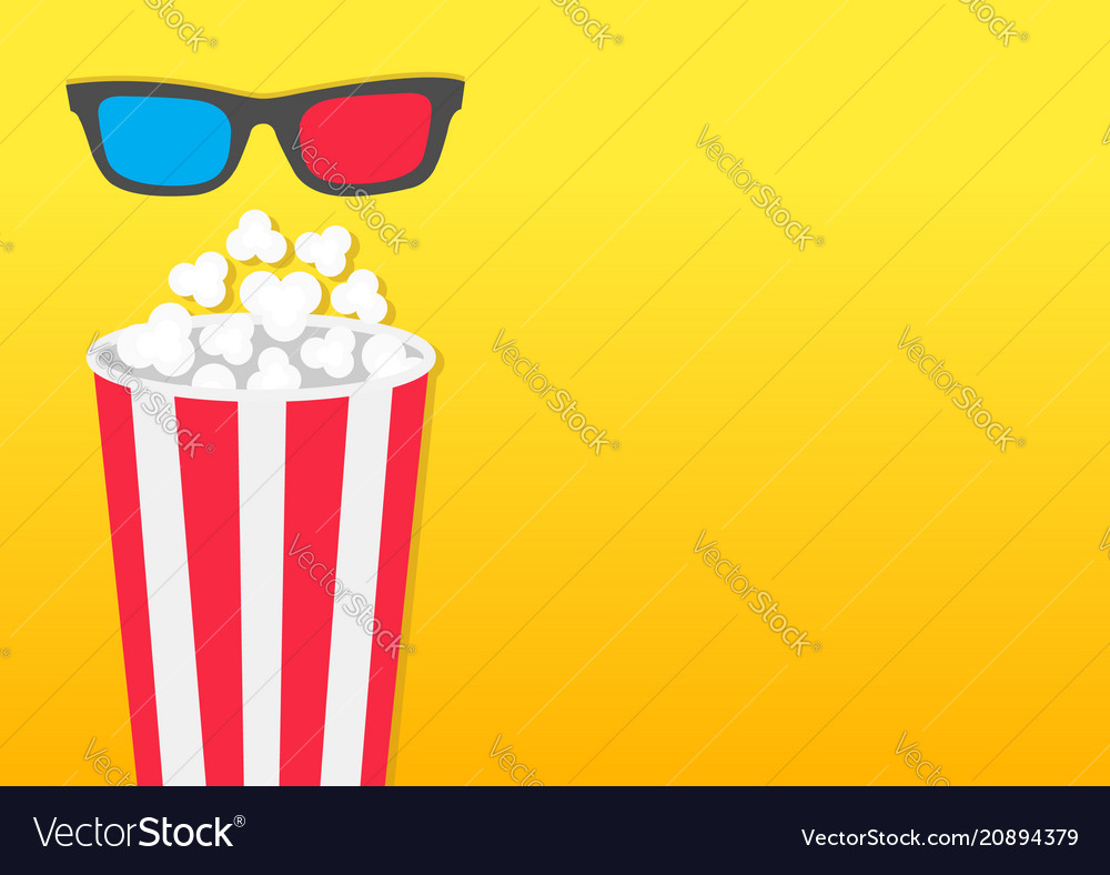 Popcorn round box movie cinema icon in flat