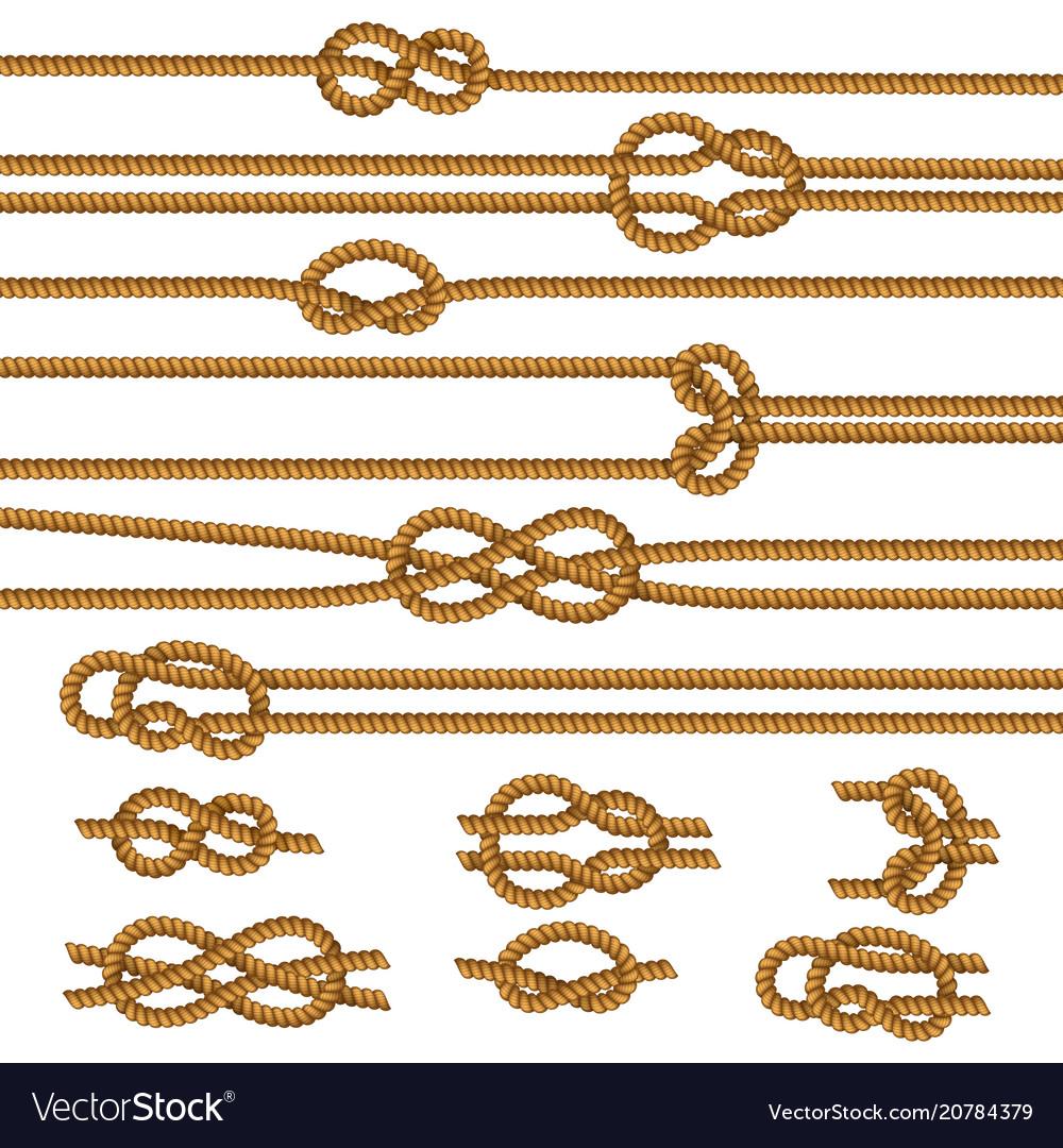 Ropes knots realistic set