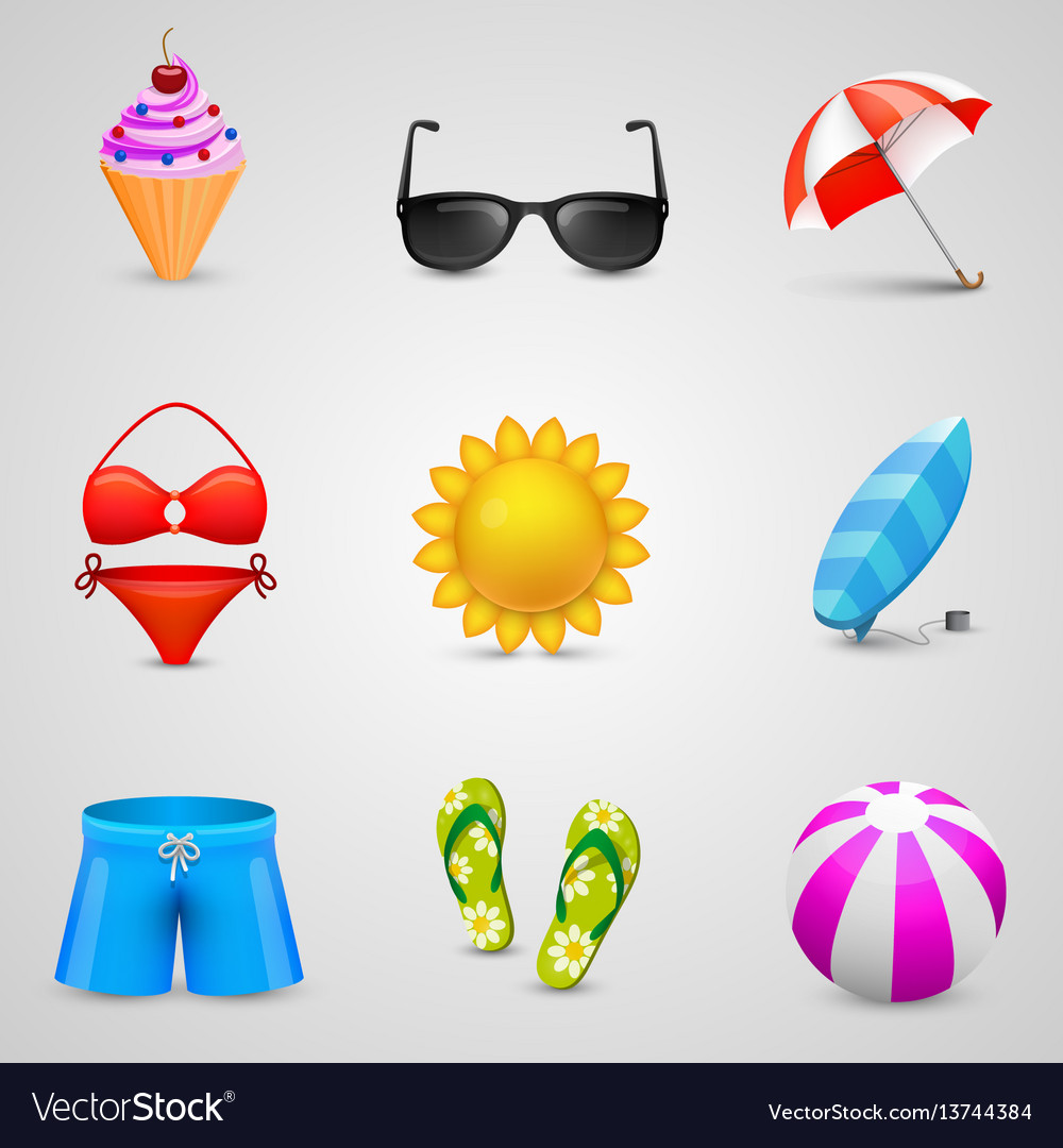 Beach set of icons