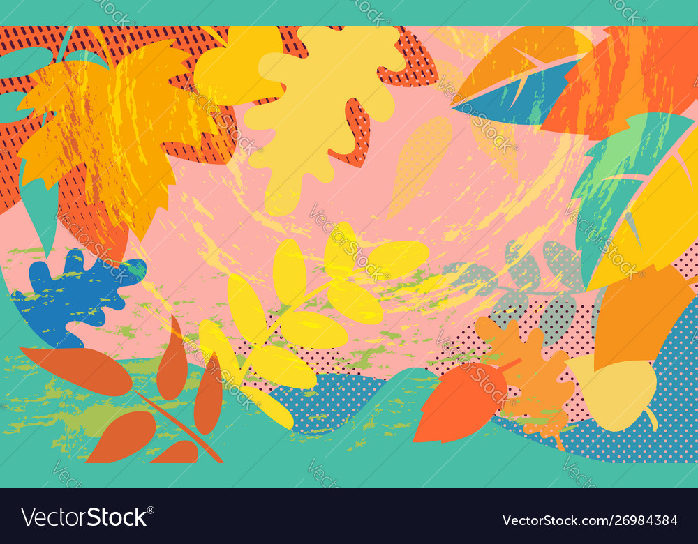 Bright abstract pattern with colorful autumn tree