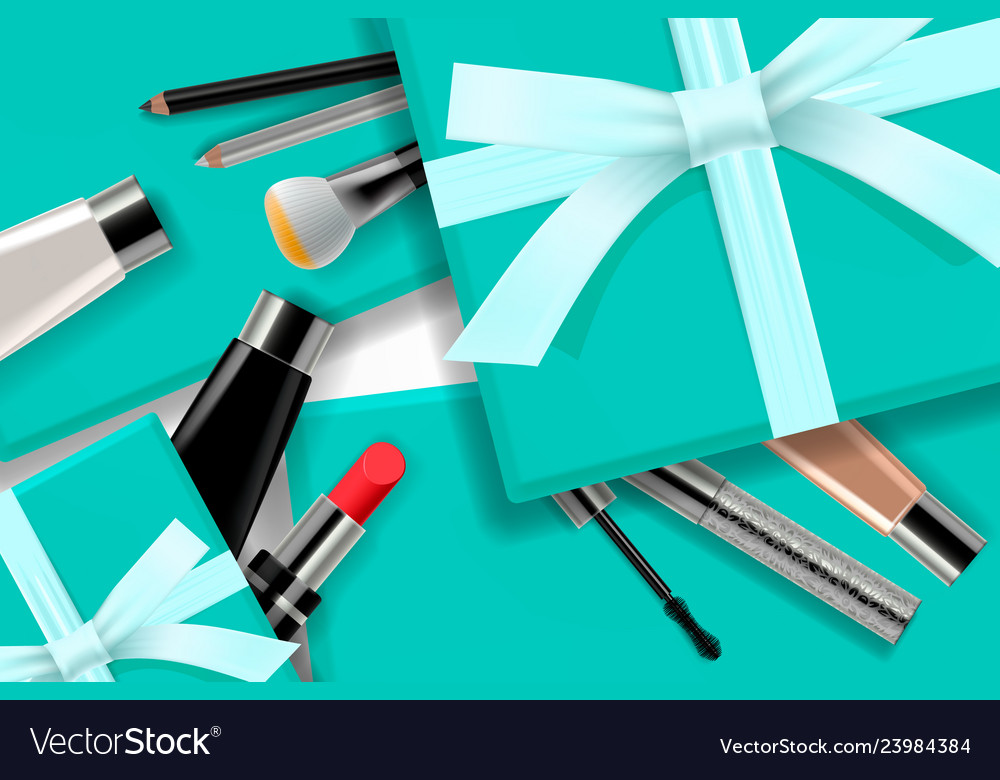 Concept online shopping cosmetics gift boxes