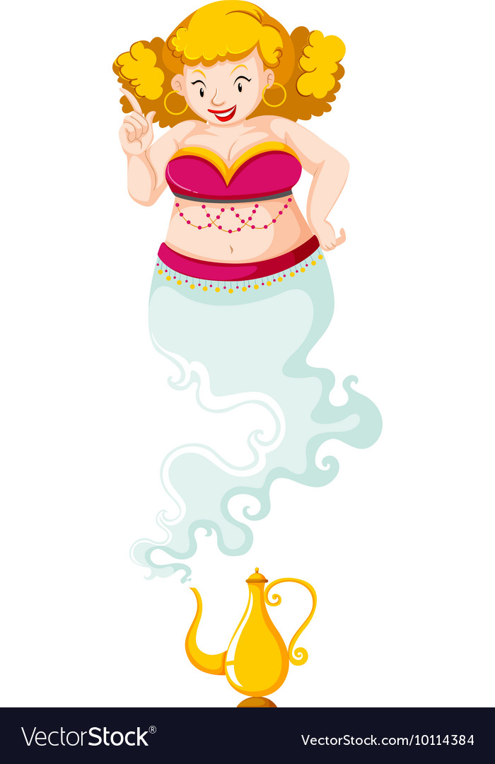 Genie in pink costume and golden l& vector image  sc 1 st  VectorStock & Genie in pink costume and golden lamp Royalty Free Vector