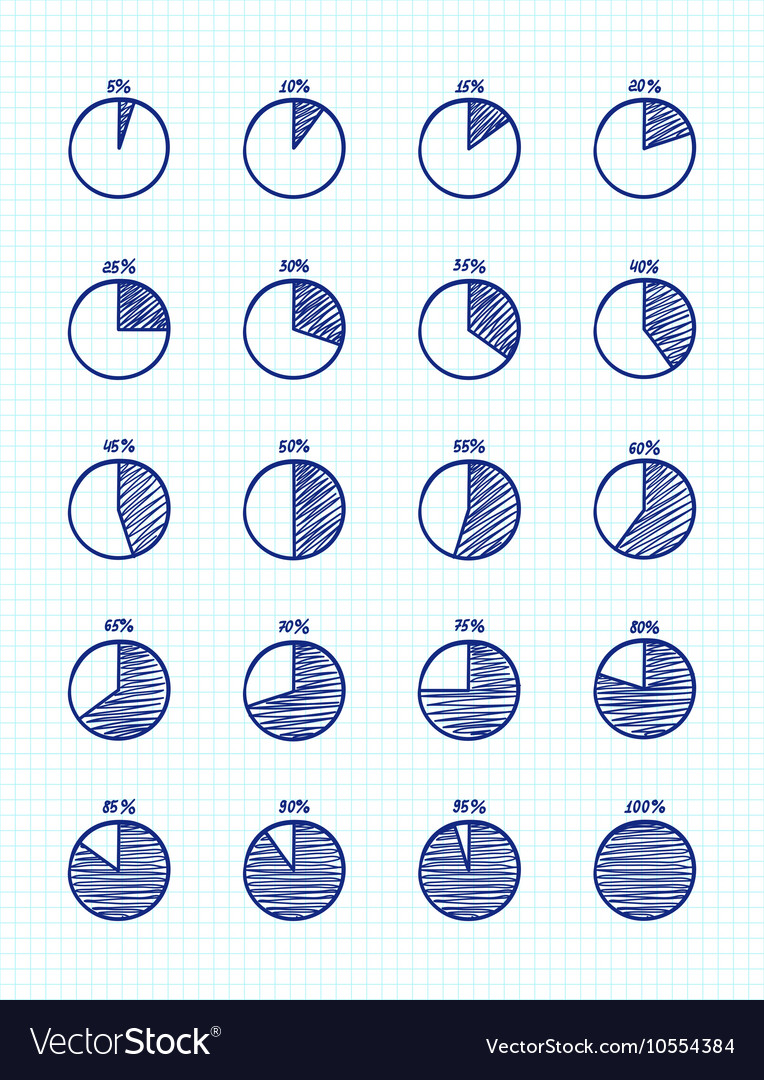 Hadn-drawn feltip pen pie chart icons set
