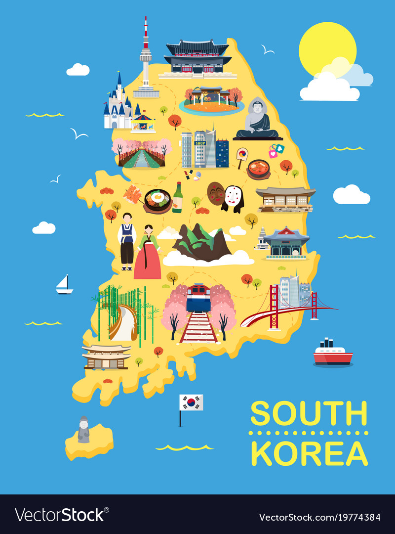 Map of korea attractions and Royalty Free Vector Image