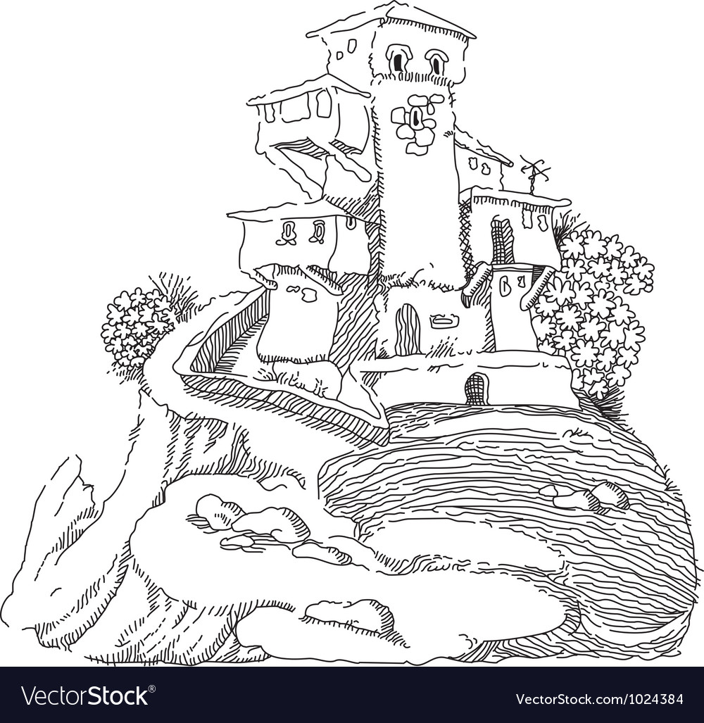Old house on the hill vector image
