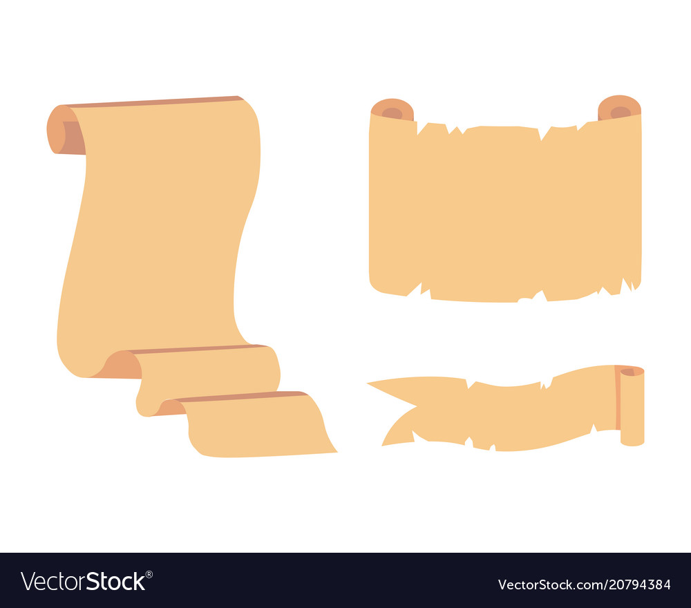 Old paper scroll set retro document script vector image