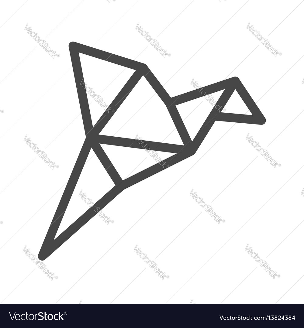 Origami bird thin line icon vector image