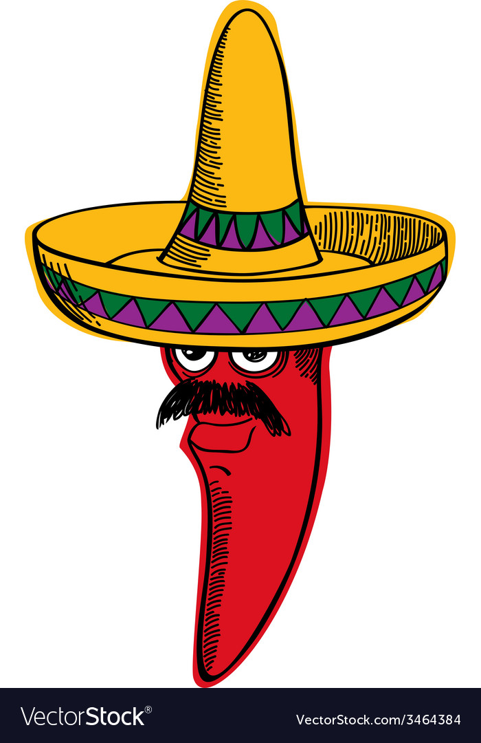 red chili wearing a sombrero royalty free vector image