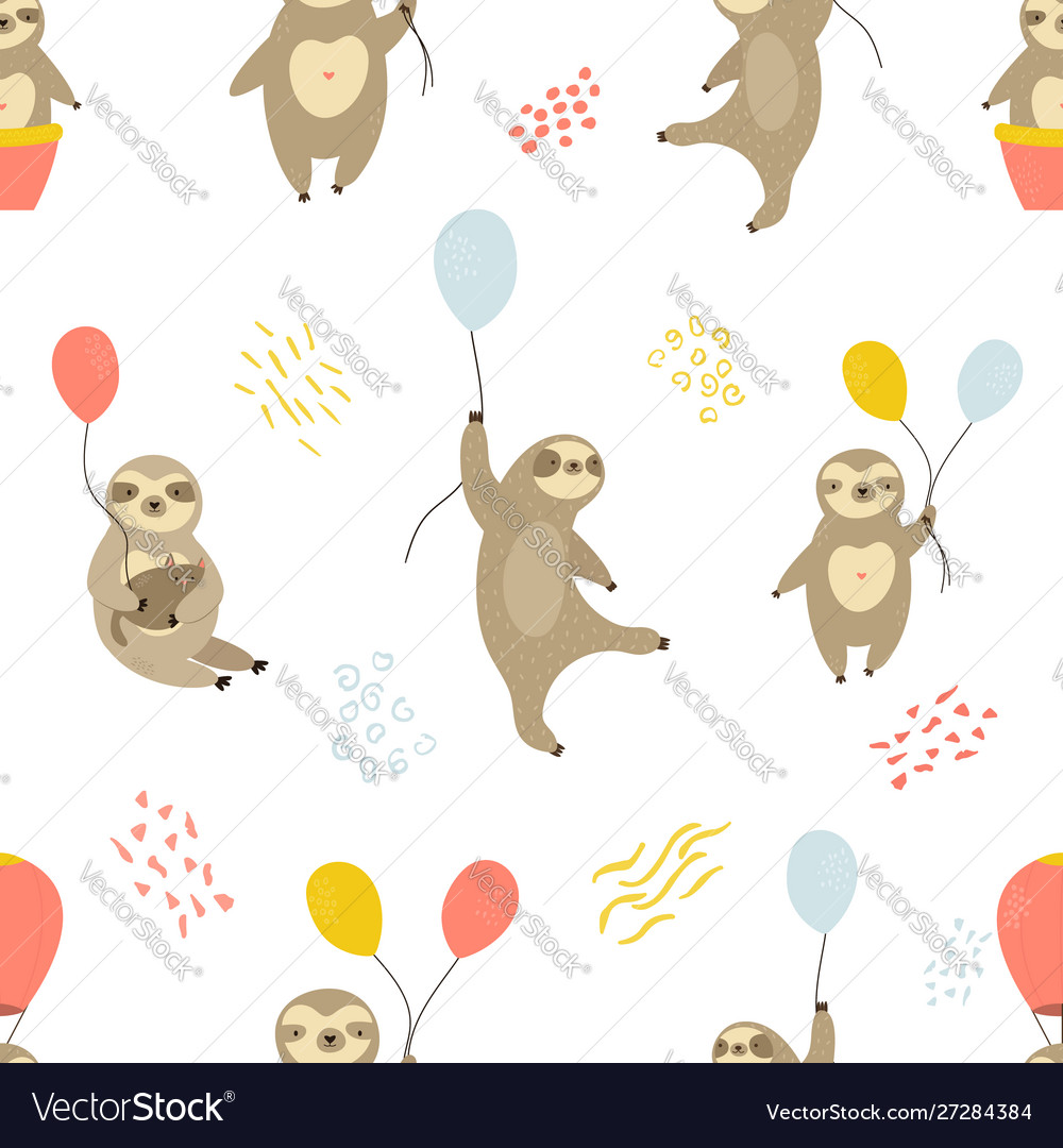 Seamless pattern with cute sloths and air balloons