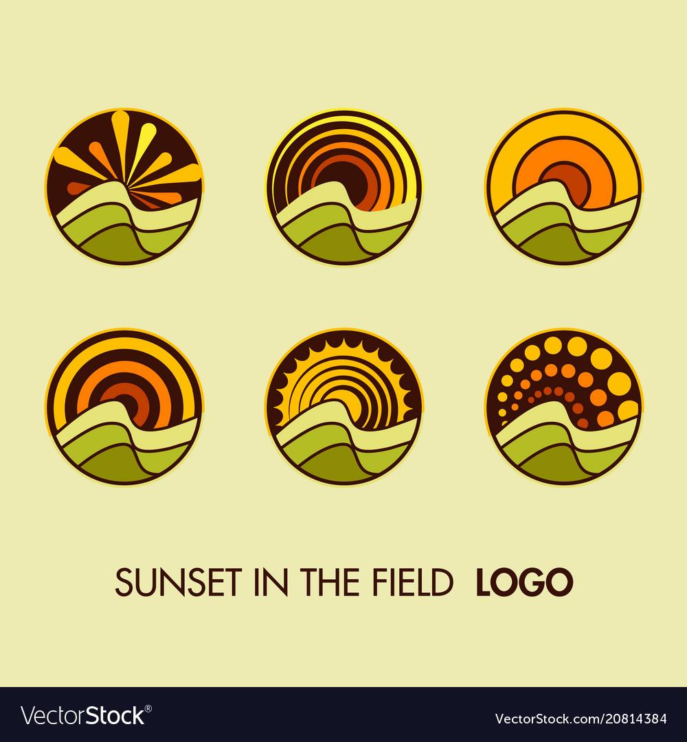 Set logo sun landscape