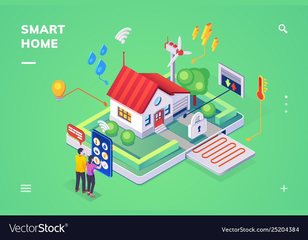 Smart home controlled smartphoneisometric view