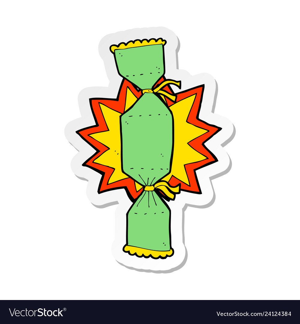 Christmas Cracker Vector.Sticker Of A Cartoon Christmas Cracker